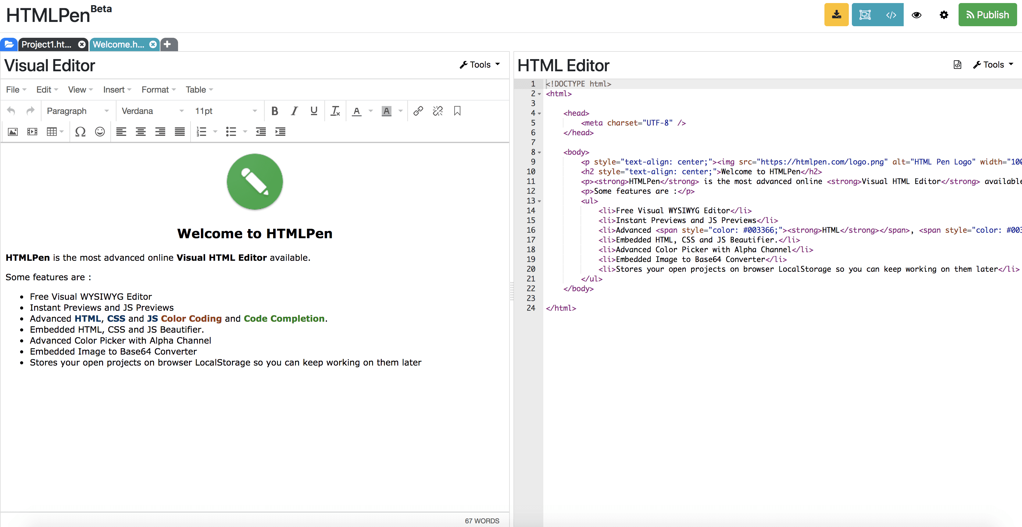 HTMLPen com - Online Dreamweaver Alternative
