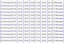 2013 Zonguldak İmsakiyesi – Zonguldak İftar Vakti – Sahur Saatleri