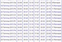2013 Uşak İmsakiyesi – Uşak İftar Vakti – Sahur Saatleri