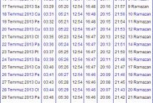 2013 Yozgat İmsakiyesi – Yozgat İftar Vakti – Sahur Saatleri