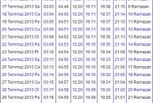 2013 Van İmsakiyesi – Van İftar Vakti – Sahur Saatleri